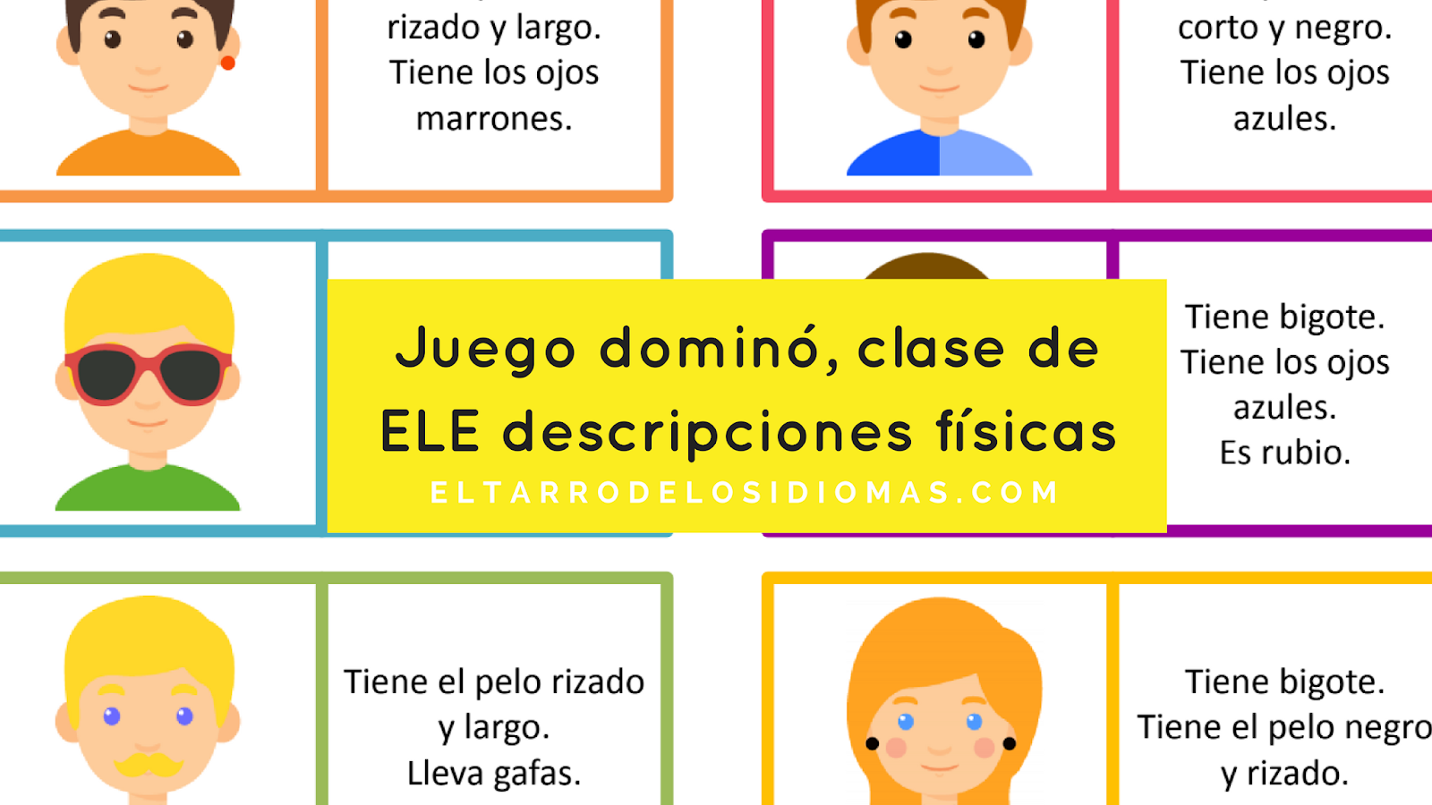 Juego dominó descripciones físicas. Vocabulario descripciones físicas en clase de ELE y en clase de Inglés. #spanishteacher #gcsespansish. Physical description, Spanish GCSE